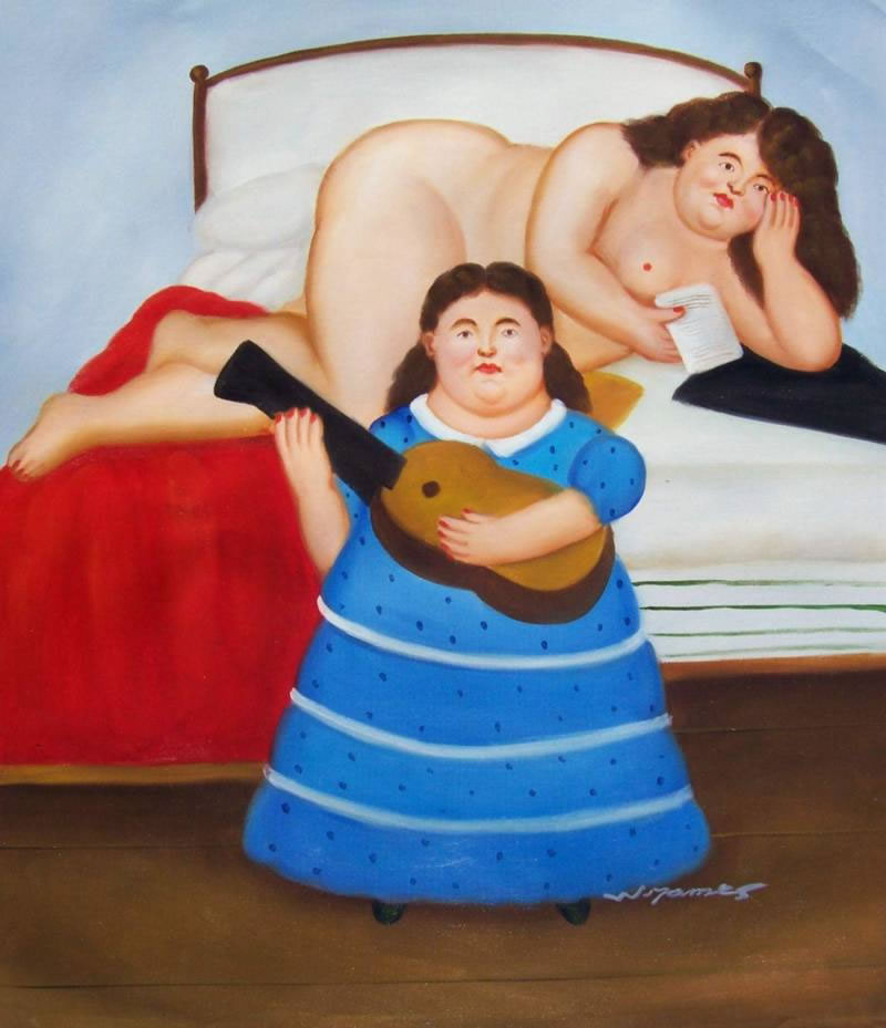 Fernando Botero Oil Painting #062:Guitar Player Nude Woman in Be