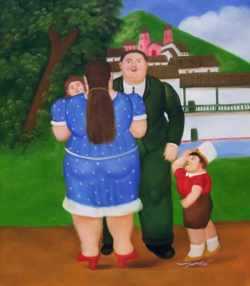 Fernando Botero Oil Painting #063:Family Portrait Husband Wife C