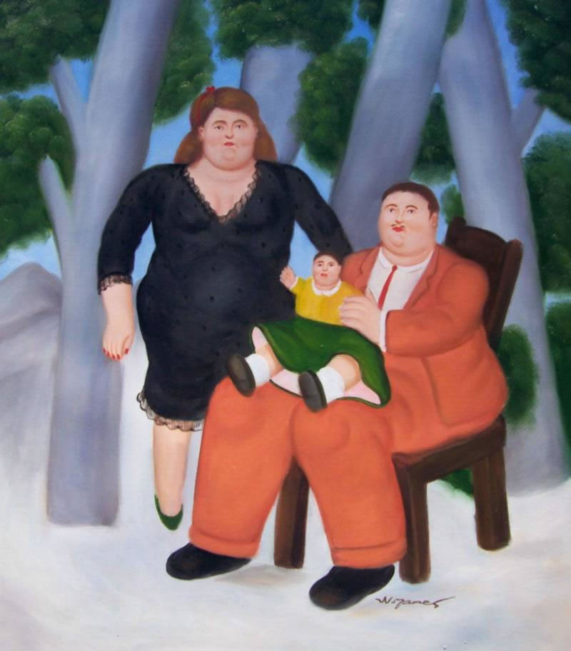 Fernando Botero Oil Painting #064:Husband Wife Family Portrait