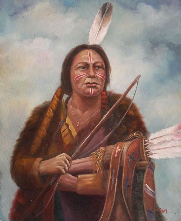 American Southwest Oil Painting #67:Native American indian Warri