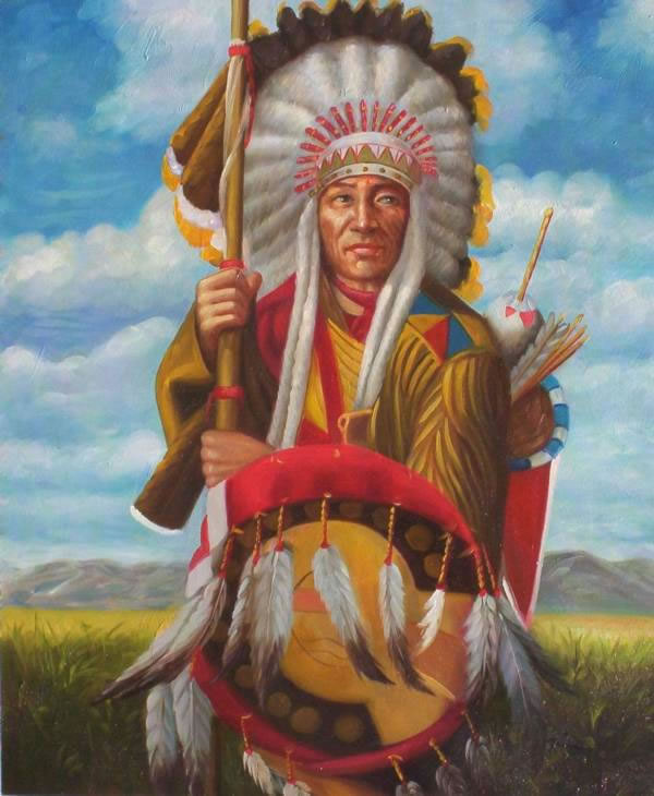 American Southwest Oil Painting #68:Native American Navajo warri