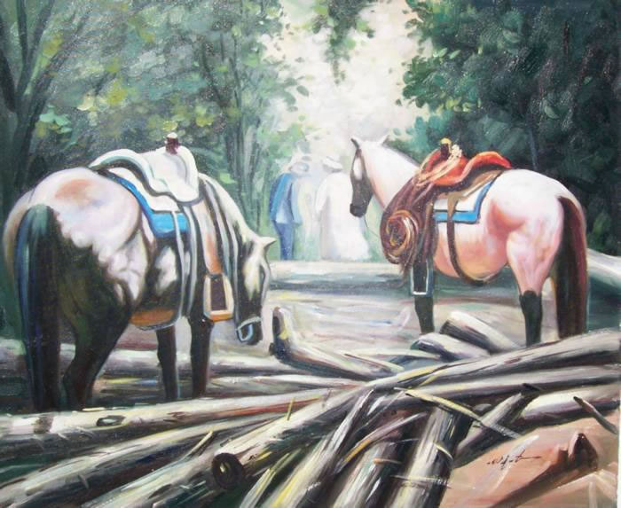 Animal Portrait Oil Painting #698:Horse Ranch
