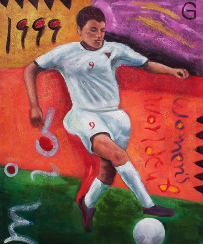 Sports Oil Painting #705: Mexican American Soccer Player Sports