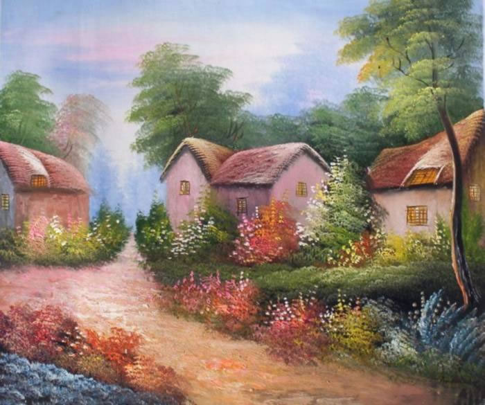 American Cottage Oil Painting 708Village In The Woods Landscap