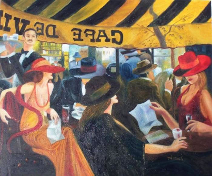 High Quality Portrait Oil Painting #711:French Life Café