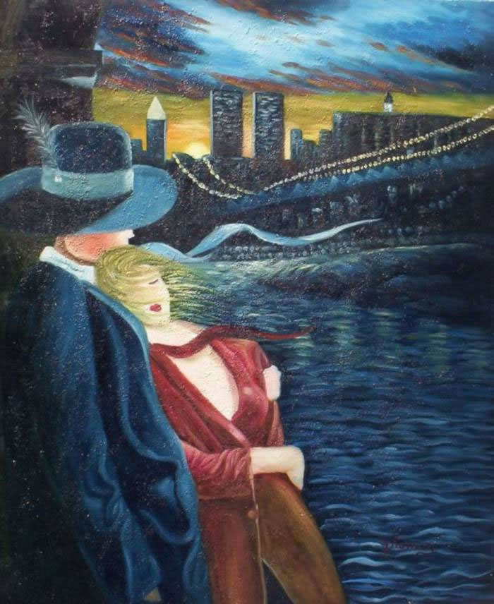 High Quality Portrait Oil Painting #713:New York City Twin Tower