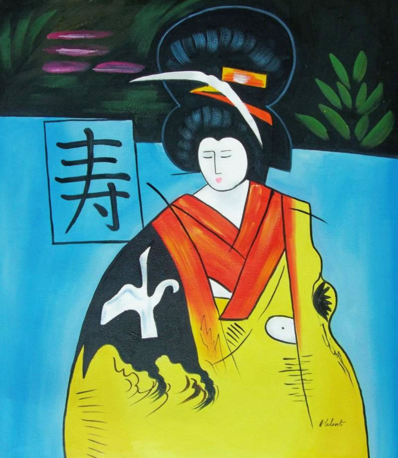 Modern Portraits Oil Painting #715:Asian Art Geisha