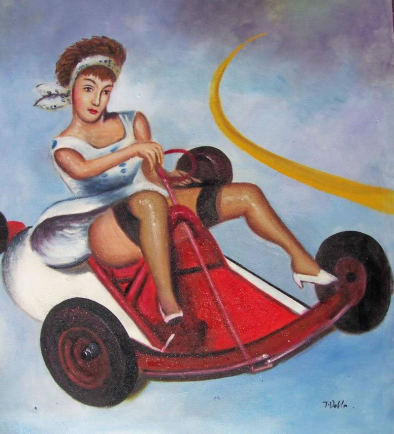 Modern Portraits Oil Painting #719:Pin Up Girl Hot Rod