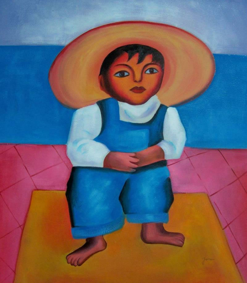Mexican Art Oil Painting #722:Diego Rivera Mexican Art Little Di