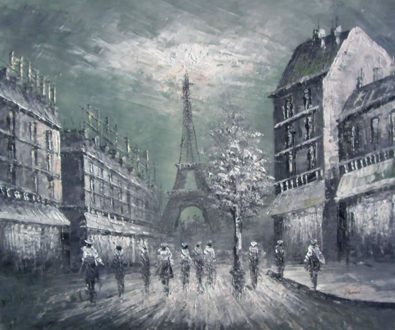 Black And White Paintings of The Eiffel Tower Painting 076 Eiffel Tower