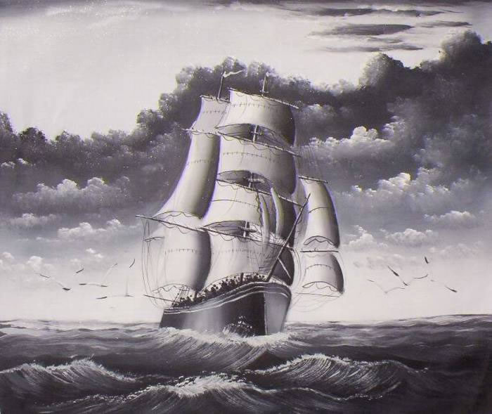 Clipper Ships Oil Painting #084:Black and White Clipper Ship Sea