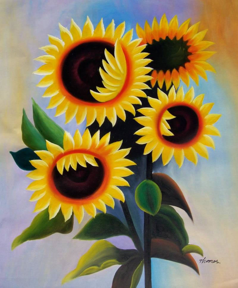 High Quality Flower Oil Painting #087:Yellow Sunflowers Floral A