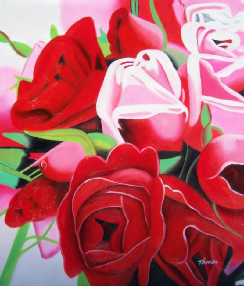 High Quality Flower Oil Painting #089:Red Pink Rose Bouquet Flow