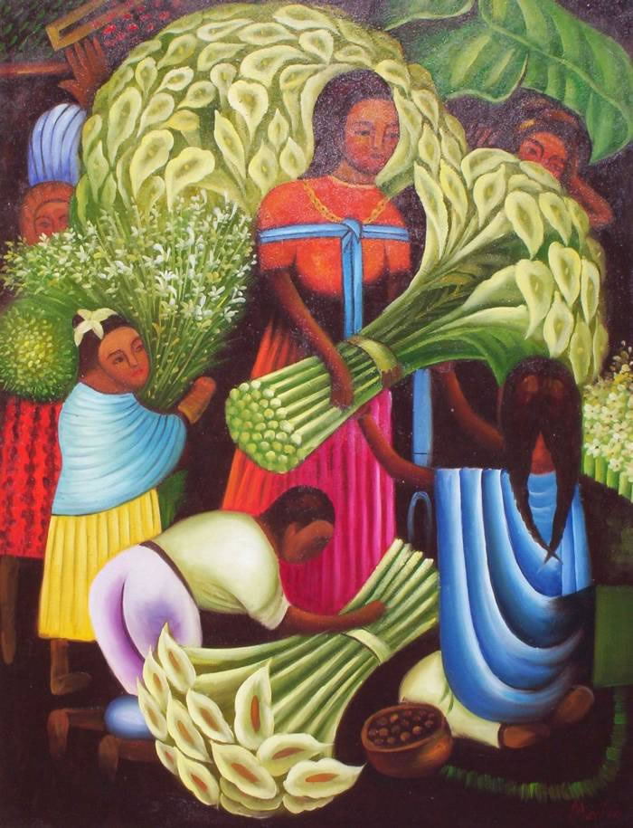 Mexican Art Oil Painting #900:Diego Rivera Mexican Art Flower Ve