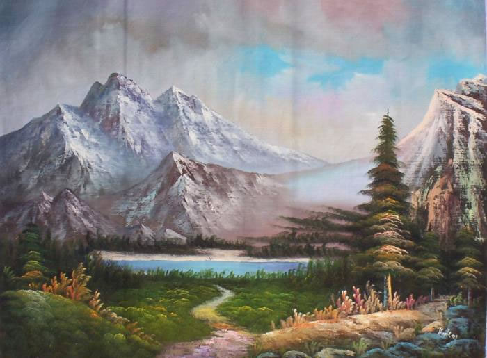 Land Sea Nature Oil Painting 908Mountains Trees Lake Sunset