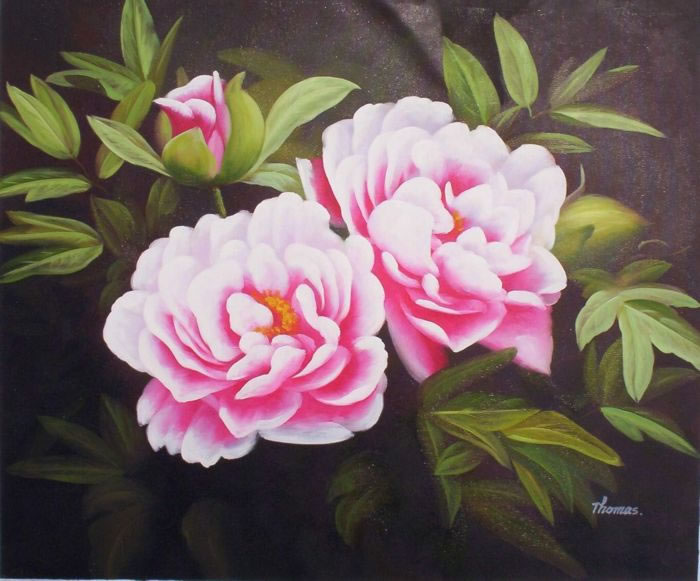 Oil paintings frames high quality flower oil painting 090blossoming pink flowers fl mightylinksfo