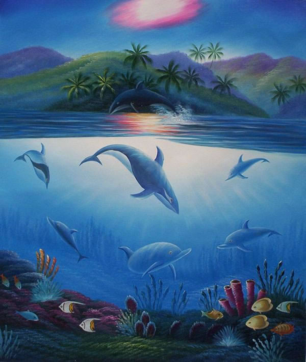 Animal Portrait Oil Painting #092:Dolphins Whales