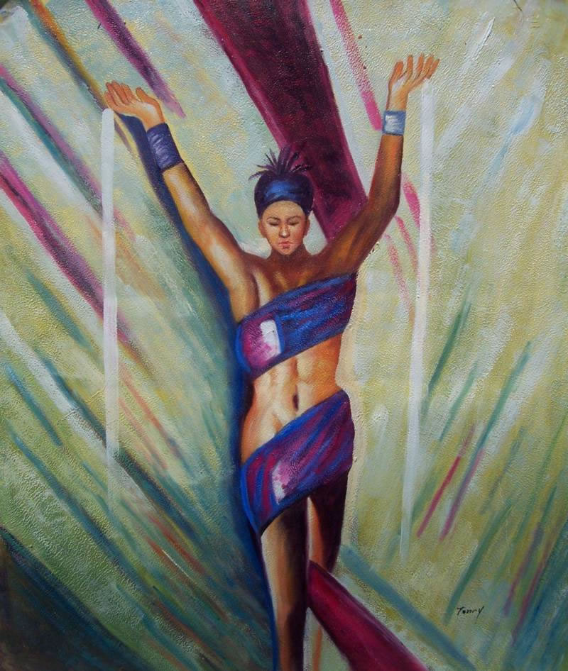 Black Art Oil Painting #94:African American Woman Athlete
