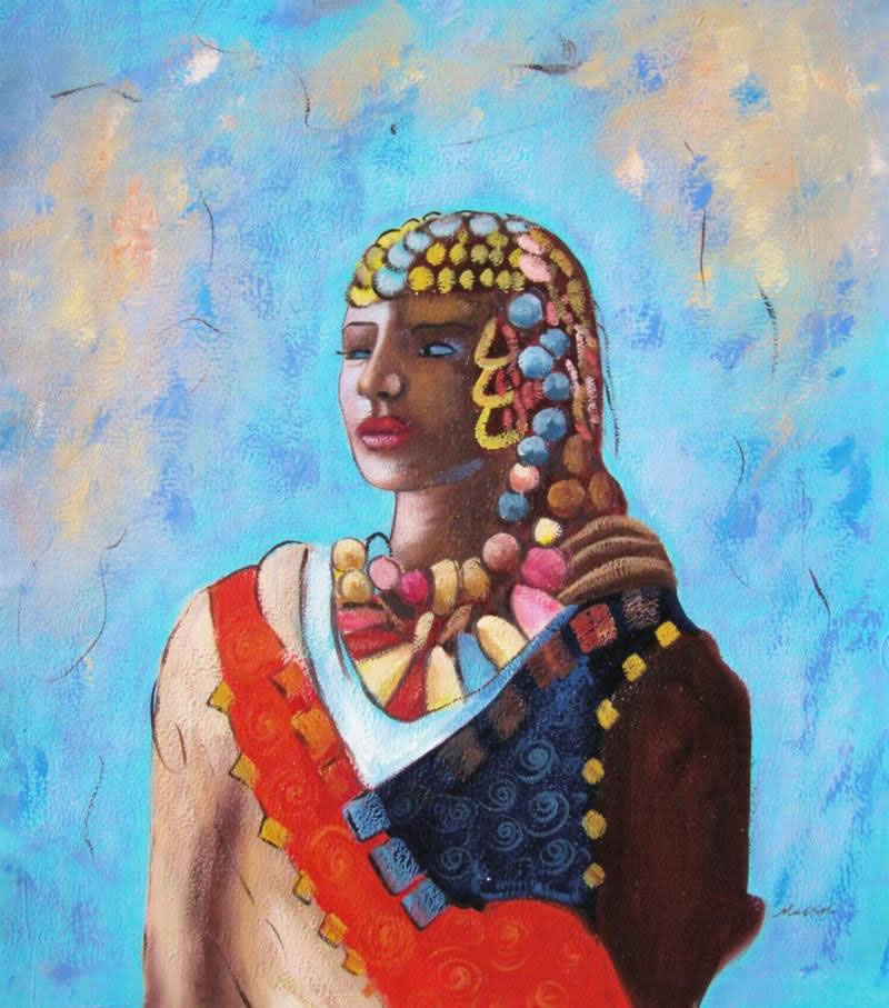 Black Art Oil Painting #AF006-510:African American Art Tribe
