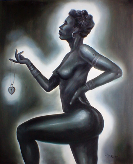Black Art Oil Painting Af Nude African American Woman