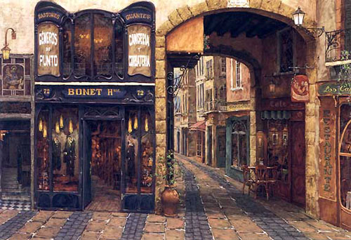 Museum Quality Oil Painting #BAR043:Paris France Bistro