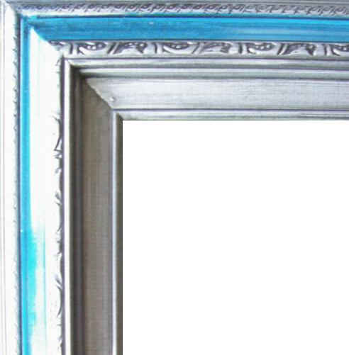 3 Inch Wide Deluxe Pine Frame Blue Silver