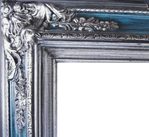 4.5 Inch Wide Ornate Pine Frame Blue Silver