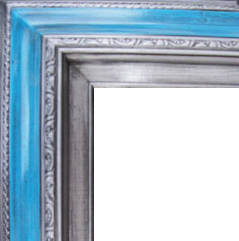 4.5 Inch Wide Deluxe XL Pine Frame Blue Silver