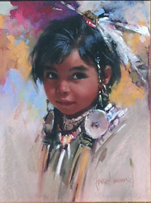 American Southwest Oil Painting #CB-1-10:Native American Girl Ch