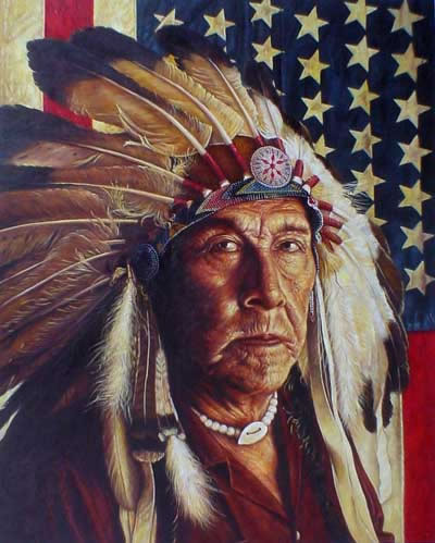 American Southwest Oil Painting #CB-1-42: Native American Indian