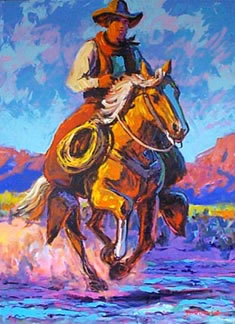 American Southwest Oil Painting #CB-2-02:Horseback Riding Cowybo