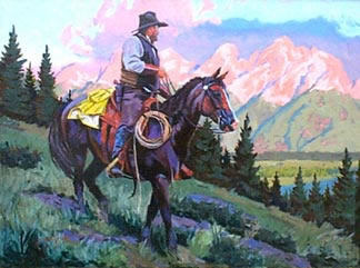American Southwest Oil Painting #CB-2-03:Cowboy Riding Horse Mou