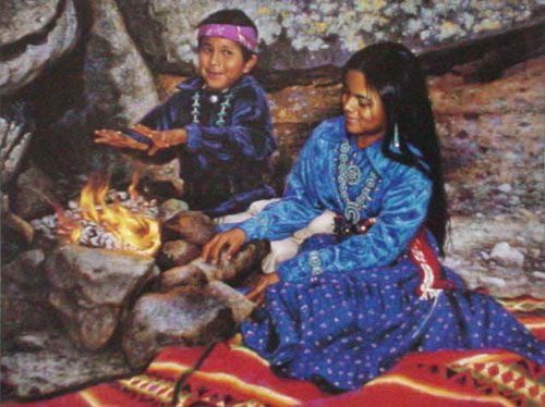 American Southwest Oil Painting #CB-3-02:Native American Childre
