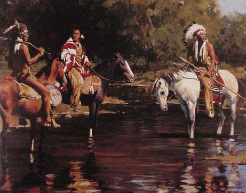 Museum Quality Oil Painting #CB-3-06:Native American Men Horse R