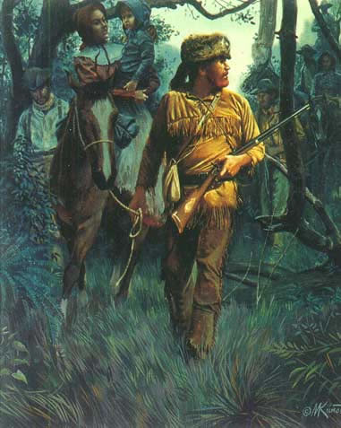 Museum Quality Oil Painting #CB-3-27:Cowboys Hunting Woods