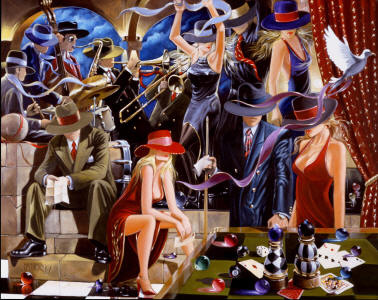 Museum Quality Oil Painting #CM011:Citylife Club Pool Players Ja