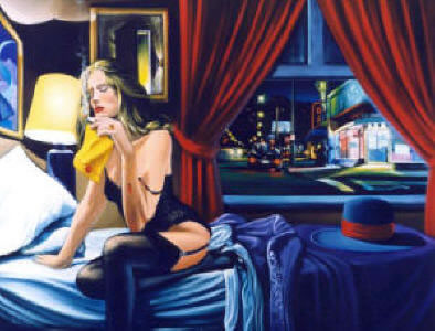 High Quality Portrait Oil Painting #CM016:Citylife Smoking Nude
