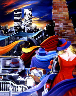 High Quality Portrait Oil Painting #CM033:Citylife Twin Towers N
