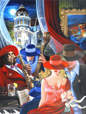 High Quality Portrait Oil Painting #CM040:Citylife Jazz Band Cou