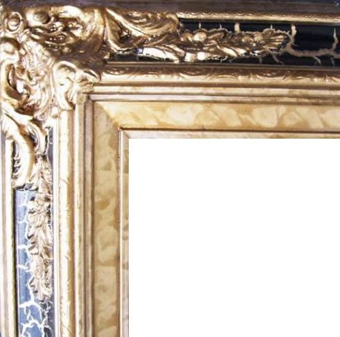4.5 Inch Wide Ornate Pine Frame Cracked Black