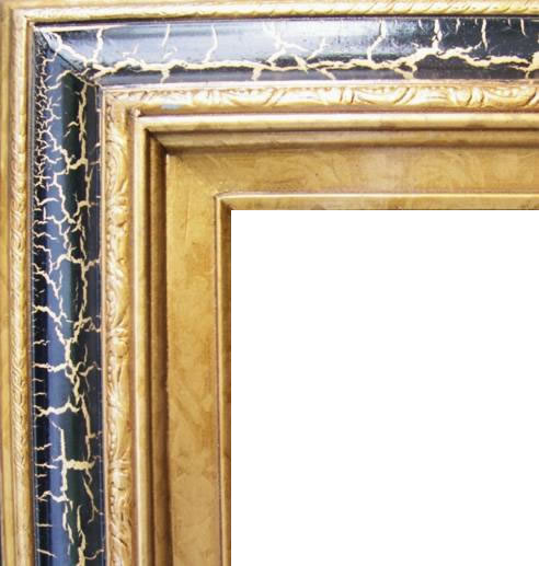 4.5 Inch Wide Deluxe XL Pine Frame Cracked Black