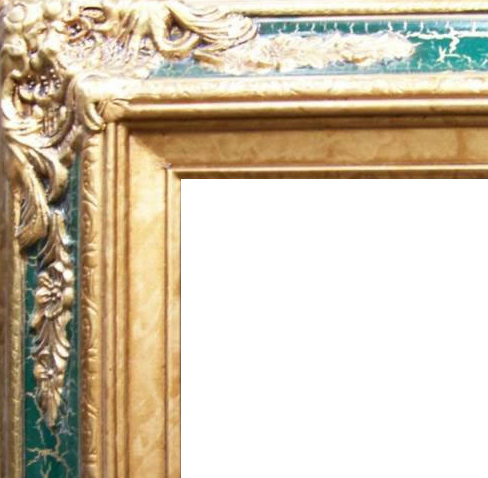 4.5 Inch Wide Ornate Pine Frame Cracked Green