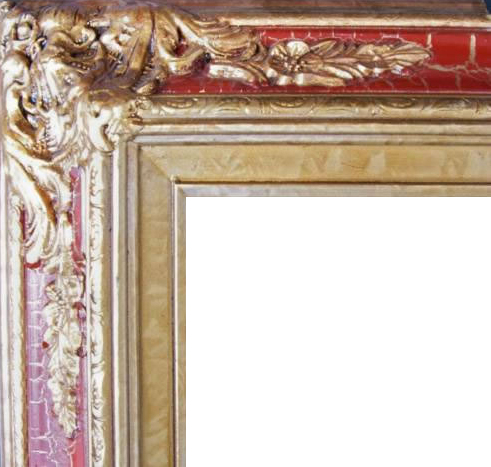4.5 Inch Wide Ornate Pine Frame Cracked Red