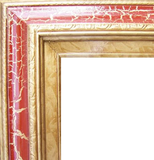 4.5 Inch Wide Deluxe XL Pine Frame Cracked Red