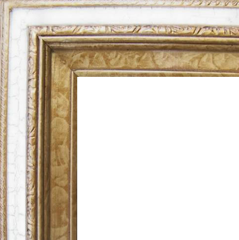 3 Inch Wide Deluxe Pine Frame Cracked White