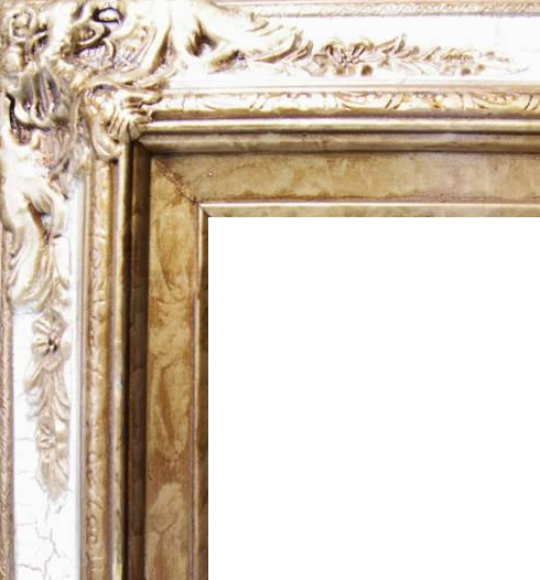 4.5 Inch Wide Ornate Pine Frame Cracked White