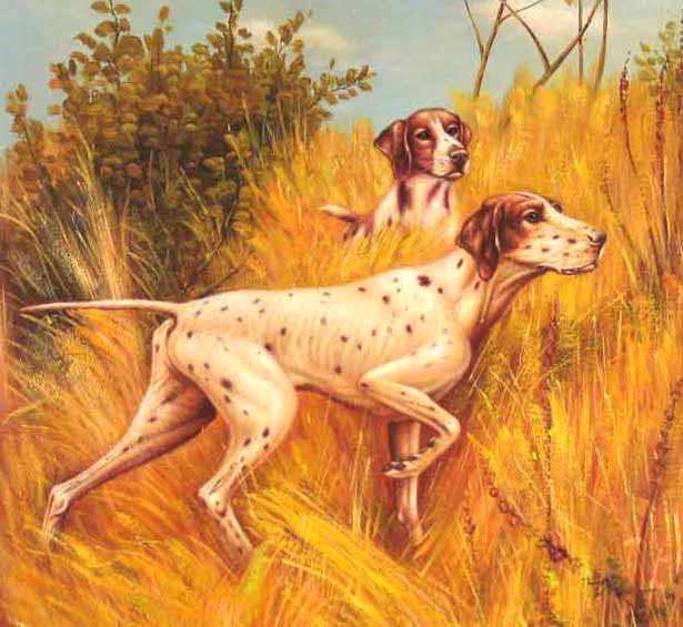 Museum Quality Oil Painting#CST-133: Animals Dogs Hunting