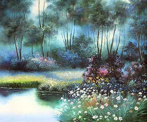 Museum Quality Oil Painting#CST-142:Woods Stream Flowers