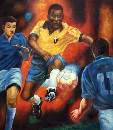 Sports Oil Painting #CST-40:Soccer Players