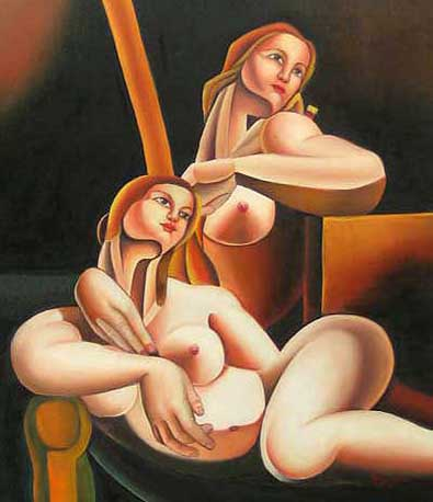 Museum Quality Oil Painting #CST-53:Abstract Figures Two Girls